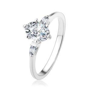 Srebrny pierścionek 925, owalna przezroczysta cyrkonia, małe cyrkoniowe trapezy - Rozmiar : 50