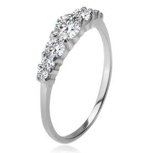 Srebrny pierścionek 925, większa i mniejsze przezroczyste cyrkonie w koszyczkach - Rozmiar : 48