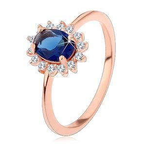 Srebrny pierścionek miedzianego koloru, ciemnoniebieska owalna cyrkonia w przezroczystej oprawie - Rozmiar : 56
