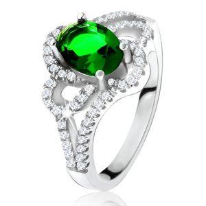 Srebrny pierścionek, ukośna owalna zielona cyrkonia, zaokrąglone pasy, przezroczyste kamyczki - Rozmiar : 60