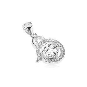 Srebrny wisiorek 925 - lśniąca spirala, przezroczysty cyrkoniowy owal, okrągły kamyczek