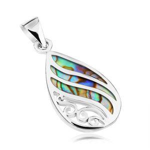 Srebrny wisiorek 925, kropla - muszla Paua, faliste lśniące linie i spirale