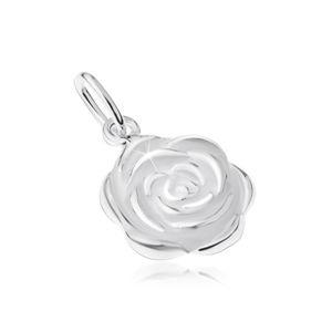 Srebrny wisiorek 925, rozwinięty kwiat róży