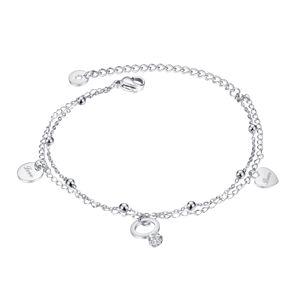 """Stalowa bransoletka, srebrny kolor - podwójny łańcuszek, zawieszki, błyszczące kuleczki, """"Love"""" - miłość"""