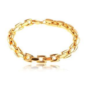 Stalowa bransoletka w złotym odcieniu, lśniący łańcuszek z kwadratowych ogniw