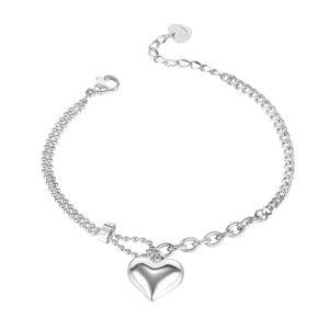 Stalowa bransoletka z serduszkiem - różne rodzaje łańcuszków, gładki pasek, srebrny kolor