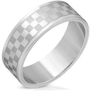 Stalowa obrączka w srebrnym odcieniu - matowe i lśniące kwadraty - Rozmiar : 69