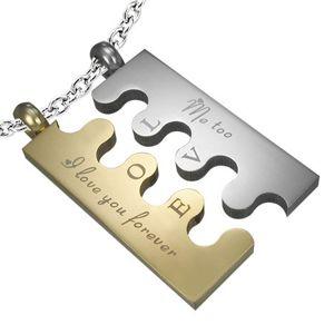 Stalowa zawieszka Puzzle, srebrno - złota