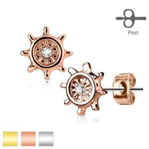 Stalowe kolczyki, ster ozdobiony bezbarwną cyrkonią, wkręty - Kolor: Srebrny