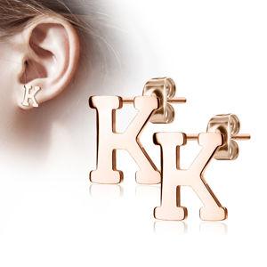 """Stalowe kolczyki w kolorze miedzi - litera alfabetu """"K"""", sztyfty"""