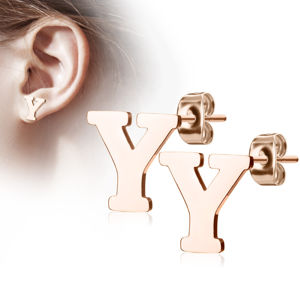 """Stalowe kolczyki w kolorze miedzi - litera alfabetu """"Y"""", sztyfty"""