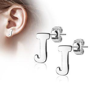 Stalowe kolczyki w srebrnym odcieniu - duża litera J, wysoki połysk