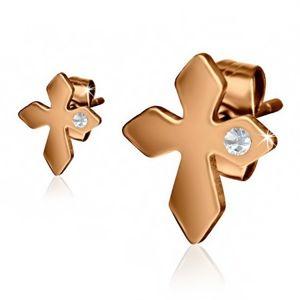 Stalowe kolczyki w złotym kolorze, krzyż z przezroczystym kamyczkiem