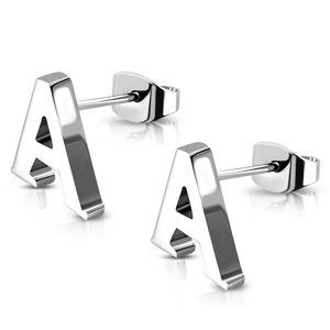 Stalowe kolczyki wkręty - drukowana litera A