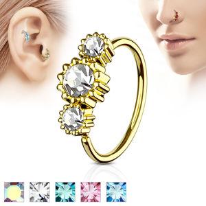 Stalowy 316L piercing do nosa lub ucha - kolorowe cyrkonie w rękawie - Kolor cyrkoni: Różowy - P