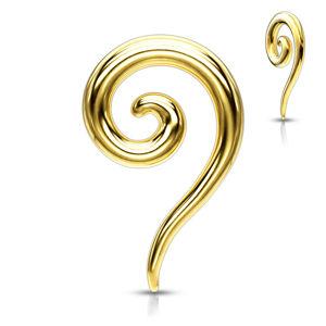 Stalowy ekspander do ucha w kolorze złotym - gładka skręcona spirala - Grubość kolczyka: 3 mm