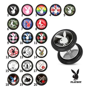 Stalowy fake plug do ucha, Playboy - Symbol: PB15