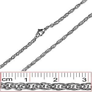 Stalowy łańcuszek - gęsto przeplatane, owalne ogniwa
