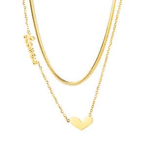 """Stalowy naszyjnik, złoty kolor - podwójny łańcuszek, zawieszka w kształcie serca, napis """"Love us"""" - kochaj nas"""
