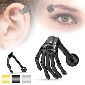 Stalowy piercing do ucha i brwi, szkielet ręki, różne kolory - Kolor: Złoty
