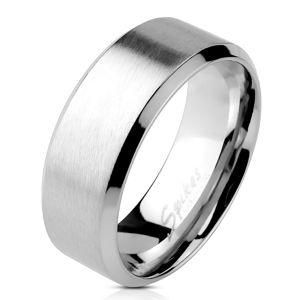 Stalowy pierścień - matowy pasek na środku, błyszczące linie wzdłuż krawędzi, 6 mm - Rozmiar : 65