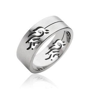 Stalowy pierścień symbol Tribal - Rozmiar : 65