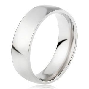 Stalowy pierścionek o lśniącej srebrnej powierzchni, 6 mm - Rozmiar : 55