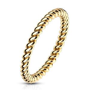 Stalowy pierścionek w kolorze złotym - skręcony kontur w kształcie liny, 2 mm - Rozmiar : 56