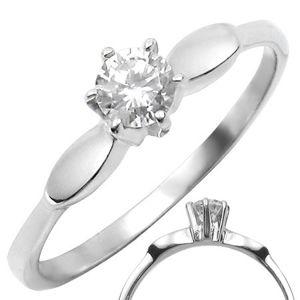 Stalowy pierścionek z przeźroczystą, wystającą cyrkonią z owalnymi dekoracjami  - Rozmiar : 52