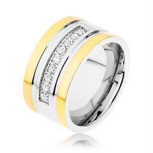 Stalowy pierścionek złotego i srebrnego koloru, błyszczący cyrkoniowy pas, nacięcia - Rozmiar : 57
