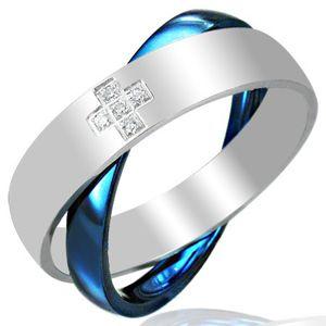 Stalowy podwójny pierścionek, niebiesko - srebrny - Rozmiar : 54