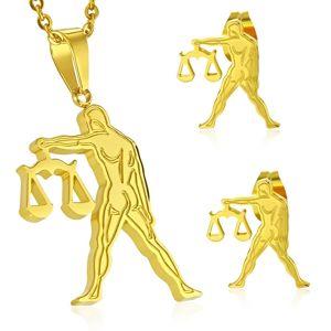 Stalowy zestaw złotego koloru - zawieszka i kolczyki wkręty, znak zodiaku WAGA