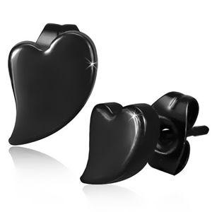 Sztyfty stalowe, asymetryczne serce czarnego koloru, wysoki połysk