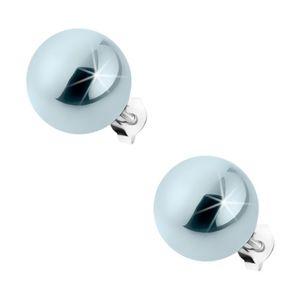 Sztyfty ze srebra 925, stalowe kuleczki z perełkowym połyskiem, 12 mm