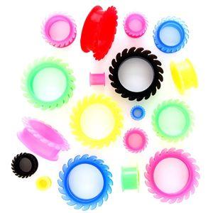 Tunel do ucha - elastyczne zębatki - Szerokość: 14 mm, Kolor kolczyka: Fioletowy