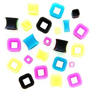 Tunel do ucha - kontur kolorowy kwadrat - Grubość kolczyka: 8 mm, Kolor kolczyka: Neonowy zielony