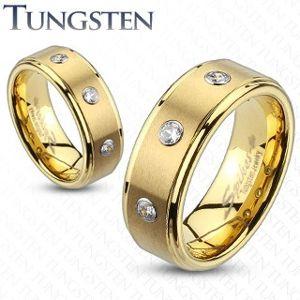 Tungsten pierścionek ze szlifowanym pasem i trzema cyrkoniami - Rozmiar : 55, Szerokość: 8 mm