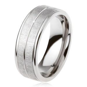 Tytanowy pierścionek w kolorze srebrnym, matowa powierzchnia, nacięcie pośrodku - Rozmiar : 64
