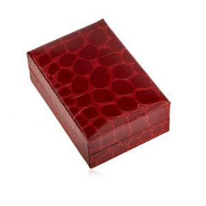 Upominkowe pudełeczko na kolczyki, krokodili wzór, bordowy odcień