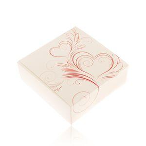 Upominkowe pudełeczko na zestaw biżuterii lub naszyjnik, kremowy kolor, czerwone ornamenty