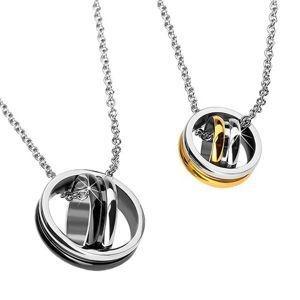 Wisiorek dla pary - skrzyżowane kółeczka, złote i czarne