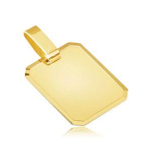 Wisiorek z żółtego złota 14K - lśniąca prostokątna płytka, ścięte krawędzie