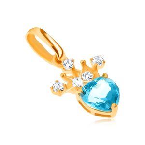 Wisiorek z żółtego złota 14K, cyrkoniowa korona, niebieski serduszkowy topaz