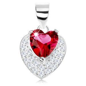 Wisiorek ze srebra 925, błyszczące wypukłe serduszko, czerwona sercowa cyrkonia