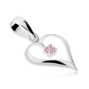 Wisiorek ze srebra 925, lśniący zarys serca, różowa cyrkonia