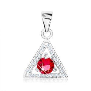 Wisiorek ze srebra 925, zarys trójkąta - przezroczyste cyrkonie, okrągła czerwona cyrkonia