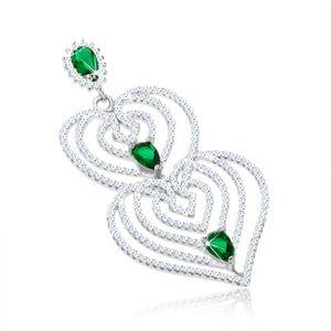 Wisiorek ze srebra 925, zarysy serc z filigranem, przezroczyste i zielone cyrkonie