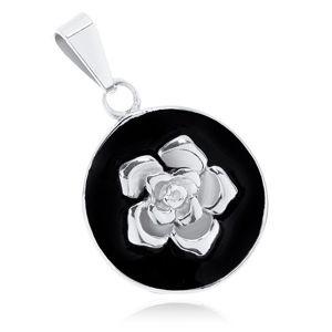 Wisiorek ze stali 316L, matowe czarne koło, lśniąca róża srebrnego koloru