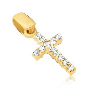 Wisiorek ze złota 14K - drobny krzyżyk z cyrkoniami po obu stronach