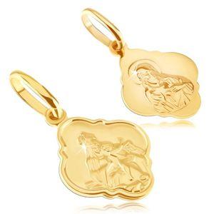 Wisiorek ze złota 14K - matowy medalik z Chrystusem i Madonną